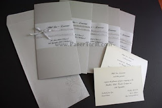 Silver band wedding invitation card