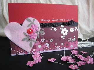 Handmade Pink heart valentine's day card