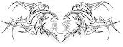 Corazón con letras chinas en medio tattoo