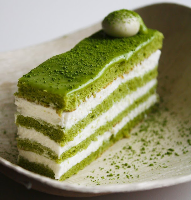 Green Tea Cake With Chocolate Ganache