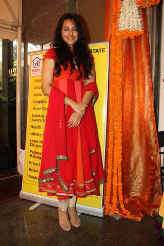 Sonakshi Sinha in Red Dress at Charity Event