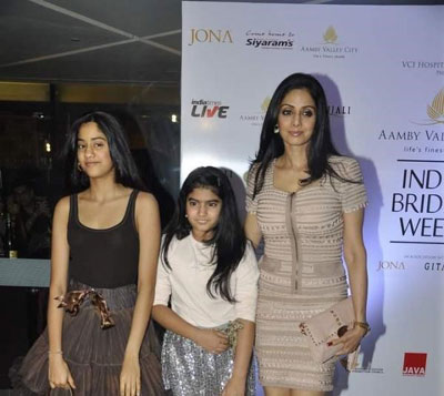 , Sridevi with Daughters at Aamby Valley India Bridal Week 2010