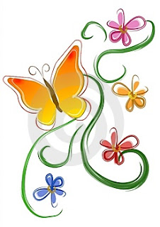 butterfly flowers clip art thumb
