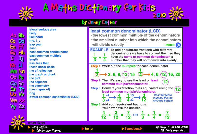 Free Technology For Teachers  A Maths Dictionary For Kids