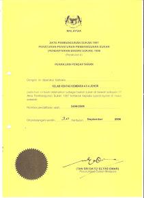 Sijil PendaftaranKelab  Rentas Kembara 4x4 Johor