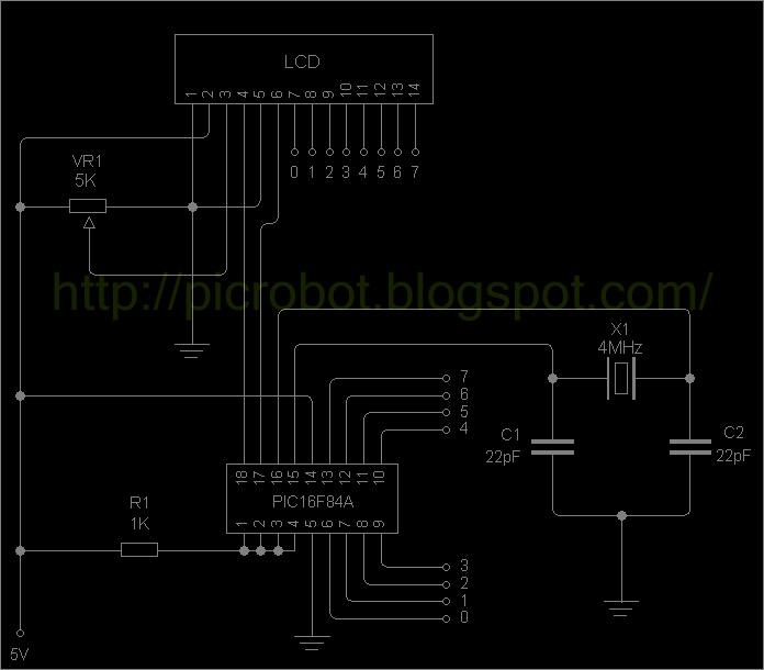Conexión LCD a PIC16F84A