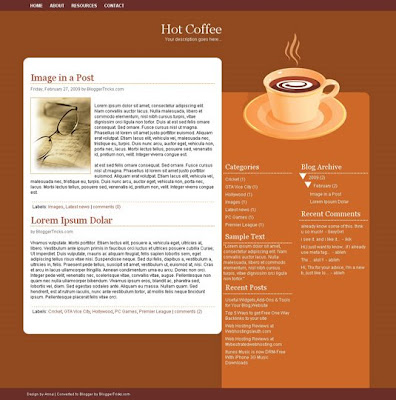 HotCoffee Blogger Template screenshot