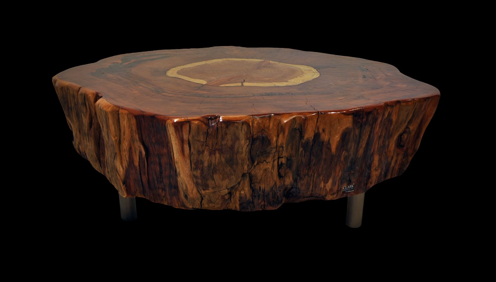 Clark Functional Art Very Large 4 1 2 Foot Diameter Redwood Tree Trunk Table