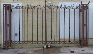 Black dog salvage architectural antiques custom for Ready made driveway gates