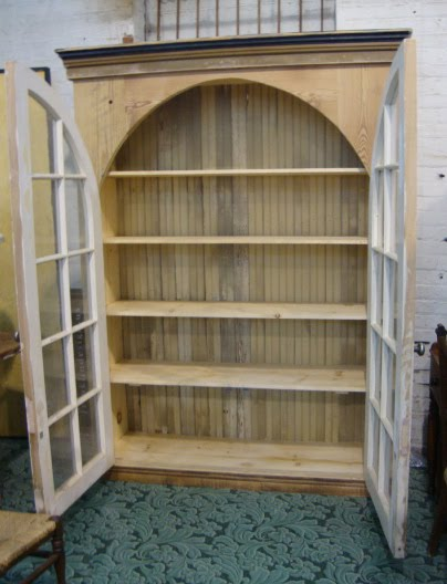 Custom Cabinet W/ Antique Arched Window Doors