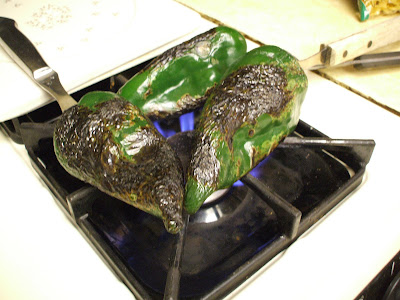 Roast peppers on a gas stove