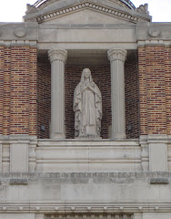 Statue on the front of St. Mary's Hospital