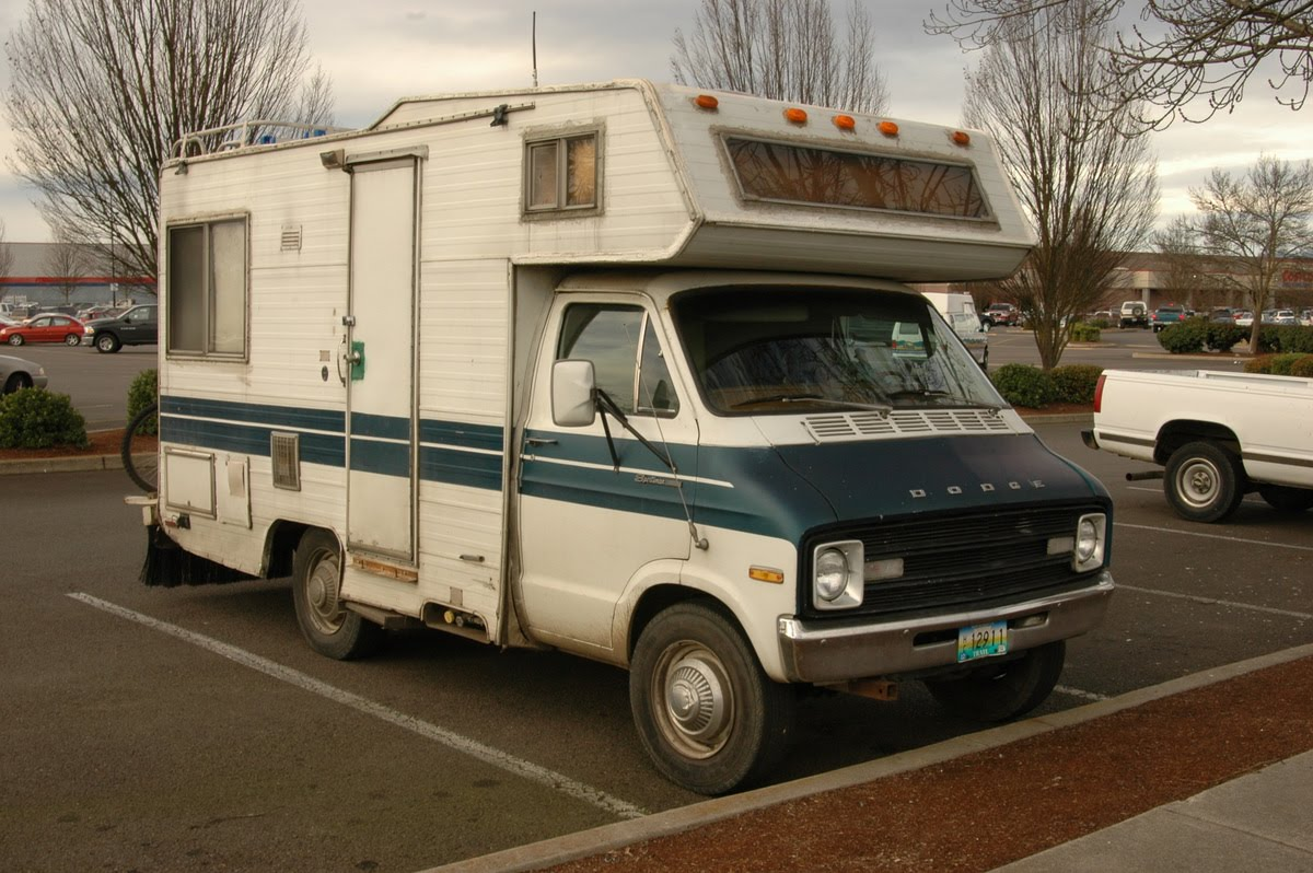Old Dodge Motorhomes http://www.oldparkedcars.com/2010/12/parking-lot-christmas-eve-1974-dodge.html