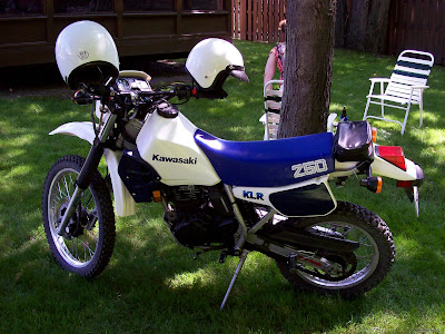 blue and white klr250 1986