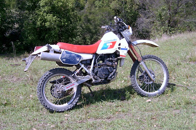 red white and blue patriotic kawi klr250 1987