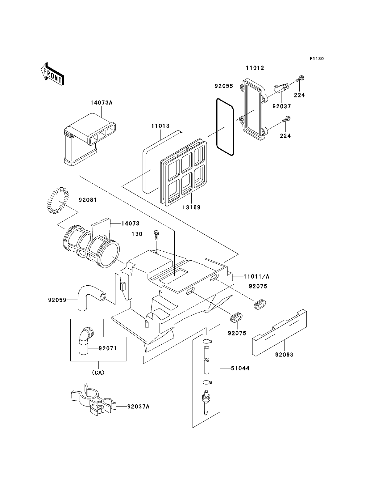 kawasaki klr250 parts diagrams airbox and air filter