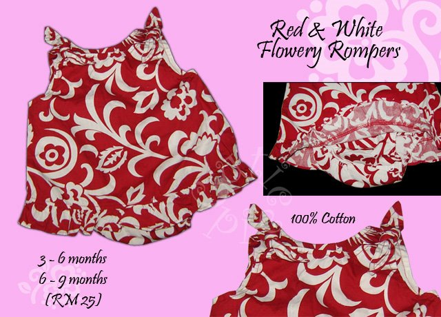 Red & White Flowery Rompers