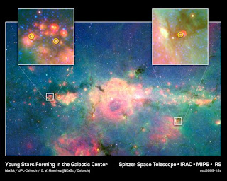 This infrared image from NASA's Spitzer Space Telescope shows three baby stars in the bustling center of our Milky Way galaxy.