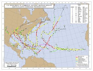 NOAA's official map of tropical cyclone tracks during the Atlantic Ocean season 2008.