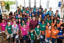 Women in Engineering campers pose with Astronaut Shane Kimbrough on the Georgia Tech campus