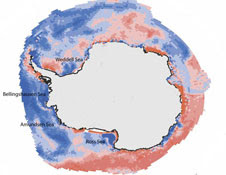 A map of the Southern Ocean&#8217;s salinity since 1979 shows a marked decrease &#8211; or freshening (shown in blue) &#8211; in certain parts of the Ross, Bellingshausen, Amundsen, and Weddell Seas
