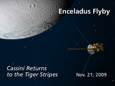 Artist's concept of Cassini's Nov. 21, 2009, Enceladus flyby