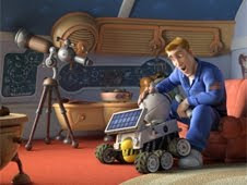 Rover with Chuck Baker, voiced by Dwayne Johnson, in Columbia Pictures' animated movie Planet 51
