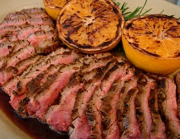 ... and Fennel-rubbed Flank Steak with Grilled Oranges - aka Party Steak