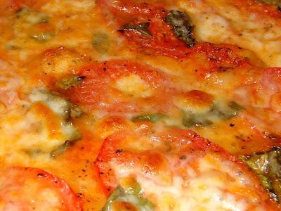 ... Fresh Tomato, Fresh Basil, Fresh Mozzarella Pizza - Before and After