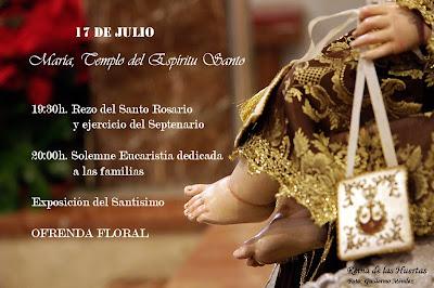 Mañana finaliza el Septenario del Carmen de San Sebastián con Exposición del Santísimo