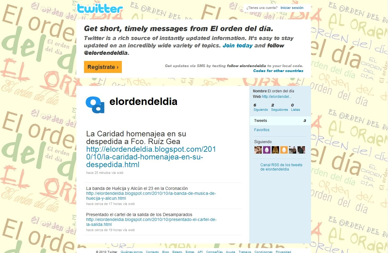 'El orden del día' abre su propio perfil en Twitter