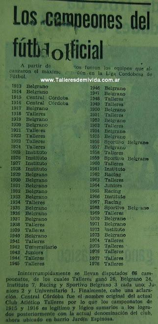 Todos los campeones oficiales liga Cordobesa (1913-1978).
