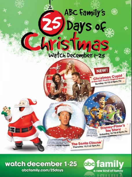 countdown to christmas abc family schedule 2013
