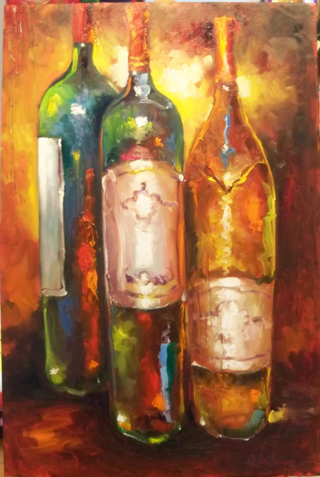 Susan jenkins morning paintings wine bottles for Painting of a wine bottle