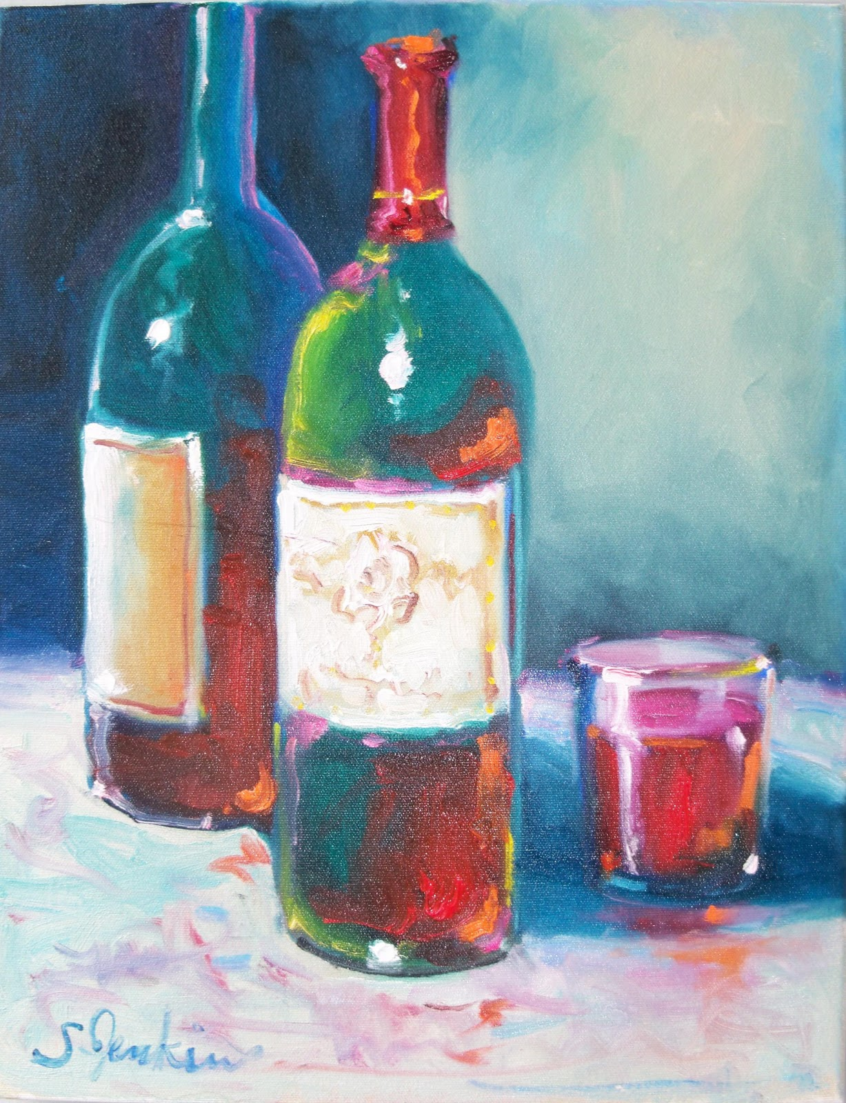 Susan jenkins morning paintings wine bottles festival for What kind of paint to use for wine bottles