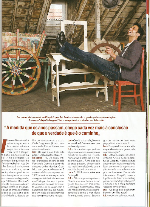 """Entrevista de Rui Santos á Revista """" Lux"""""""