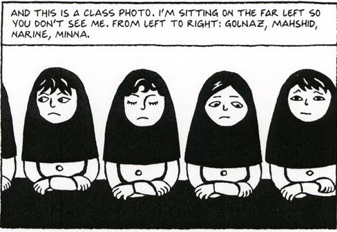 more than words marjane satrapi s persepolis the visual for example in this frame each girl has been drawn seemingly exactly the same but on closer inspection satrapi has given each female a different