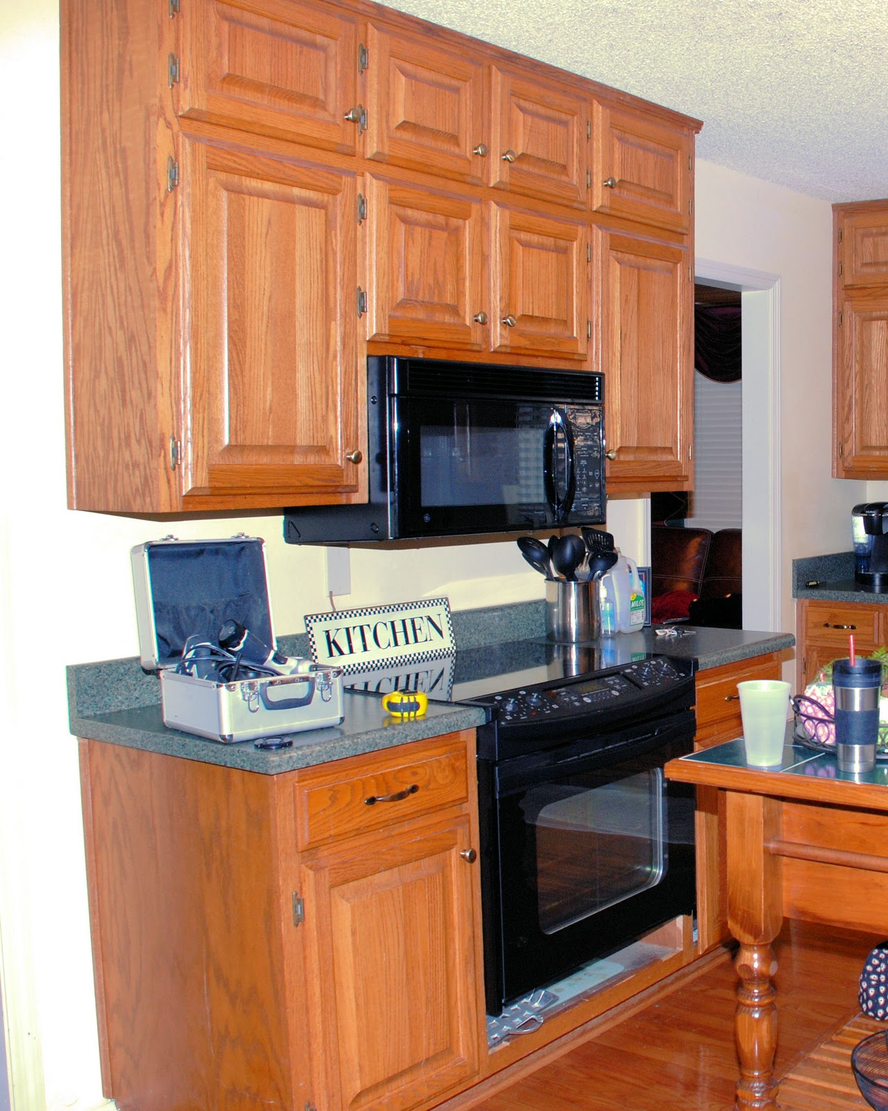 Southern inspirations my fake kitchen microwave hood for Fake kitchen set