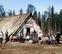 Austrian prisoners of war near a barrack