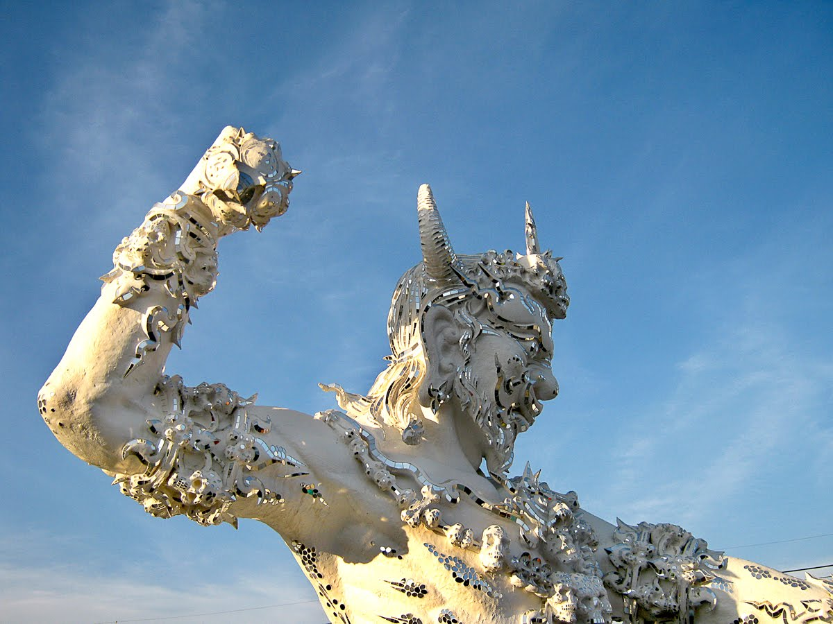 the world of statues  fierce giants from wat rong khun