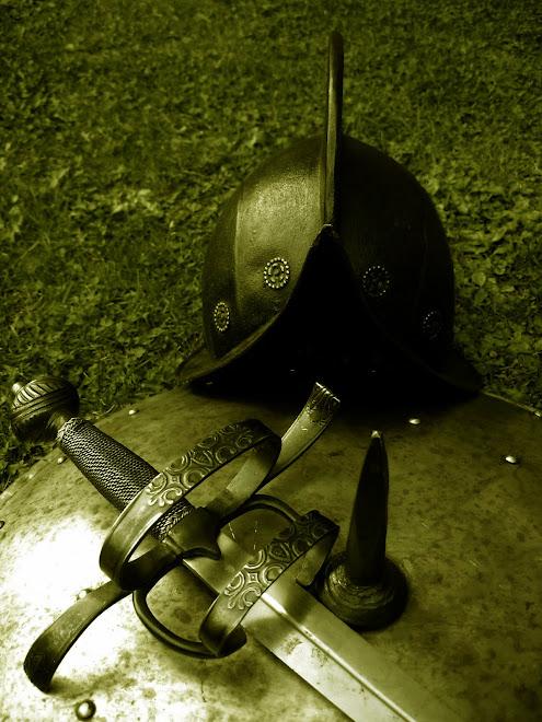 Morion, sword & steel target