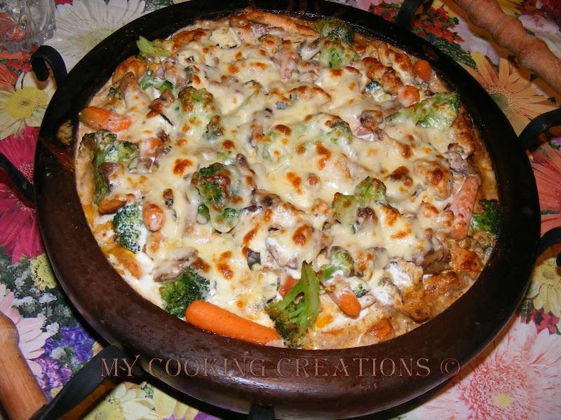 Пиле с зеленчуци на сач * Pollo con verdure