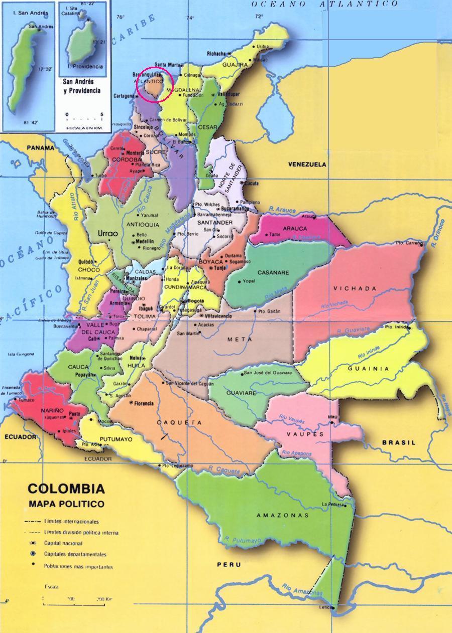 Mapa de colombia con departamentos y capitales - Imagui