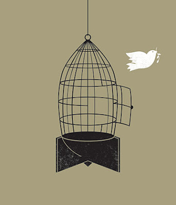 peace dove in bomb cage illustration graphic