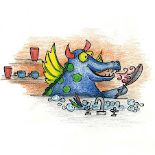 Dragon washing dishes.