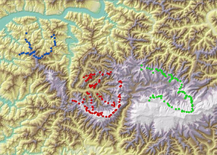 Die drei Einzugsgebiete