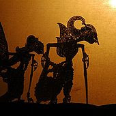 A Wayang kulit shadow puppet performance as seen by the audience