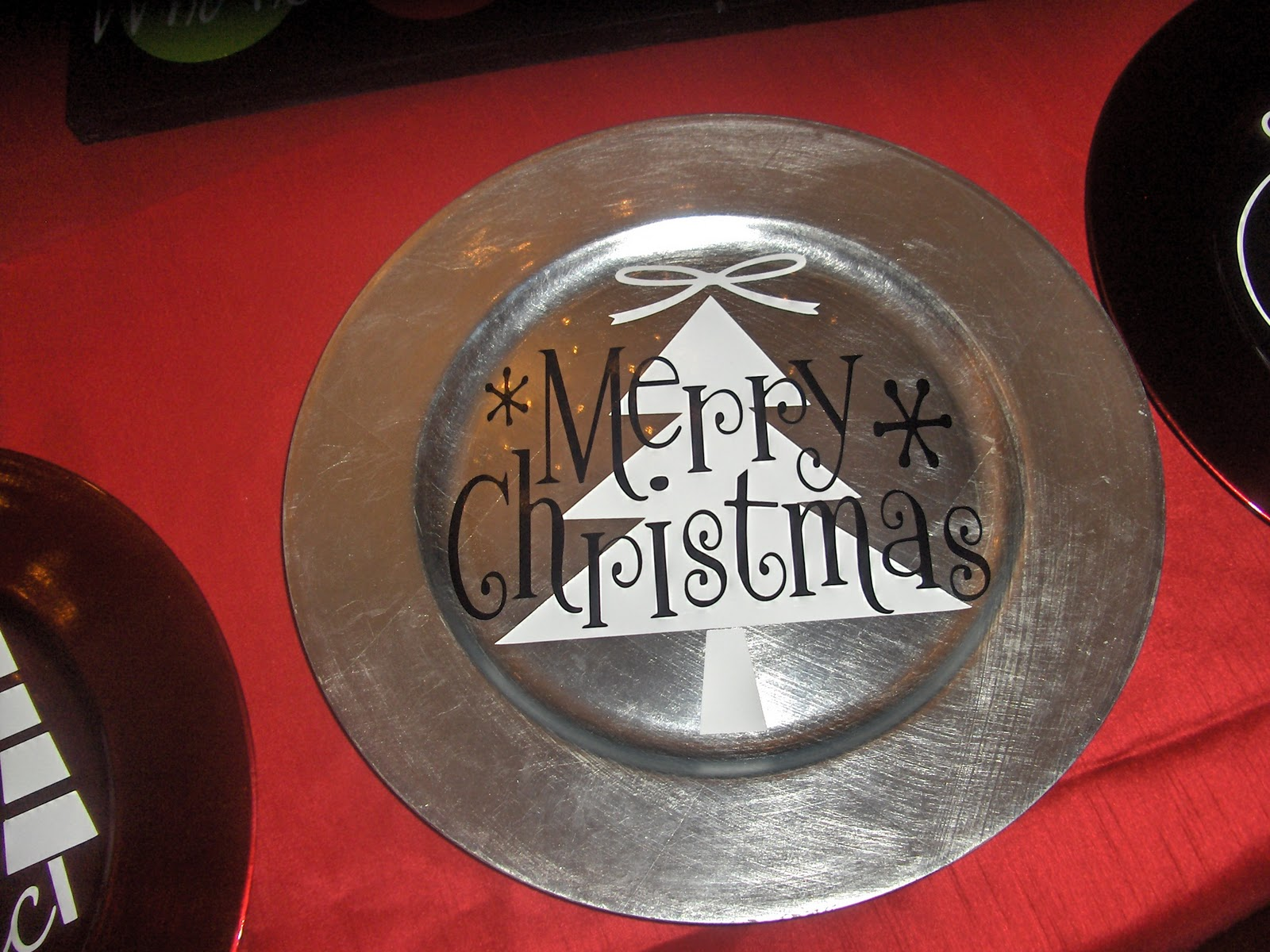 stikmup designs a collection of some christmas vinyl lettering projects cabinet doors tiles charger plates and subway art - Christmas Charger Plates