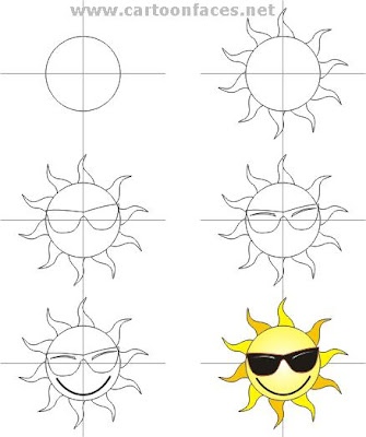 Creating a simple picture of cartoon sun character with glasses in smile