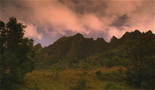 screenshot of their way back (some mountains to the west)